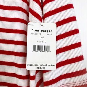 Free People Tops - Free People Cannes Striped Top Tee Red White Large